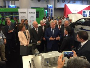 Chantal Guimont toured the EVS29 Trade Show with Minister Jacques Daoust, Premier of Québec Philippe Couillard and Minister Pierre Arcand